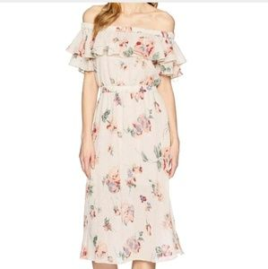 Lucky Brand Off Shoulder Floral Midi Dress XS